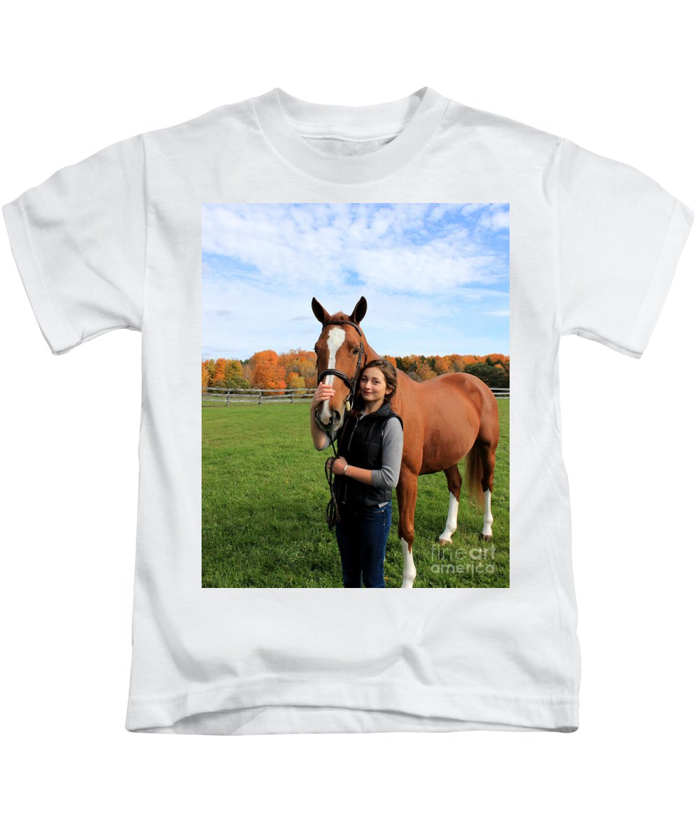 Kids T-Shirt featuring the photograph Katherine Pal 18 by Life With Horses