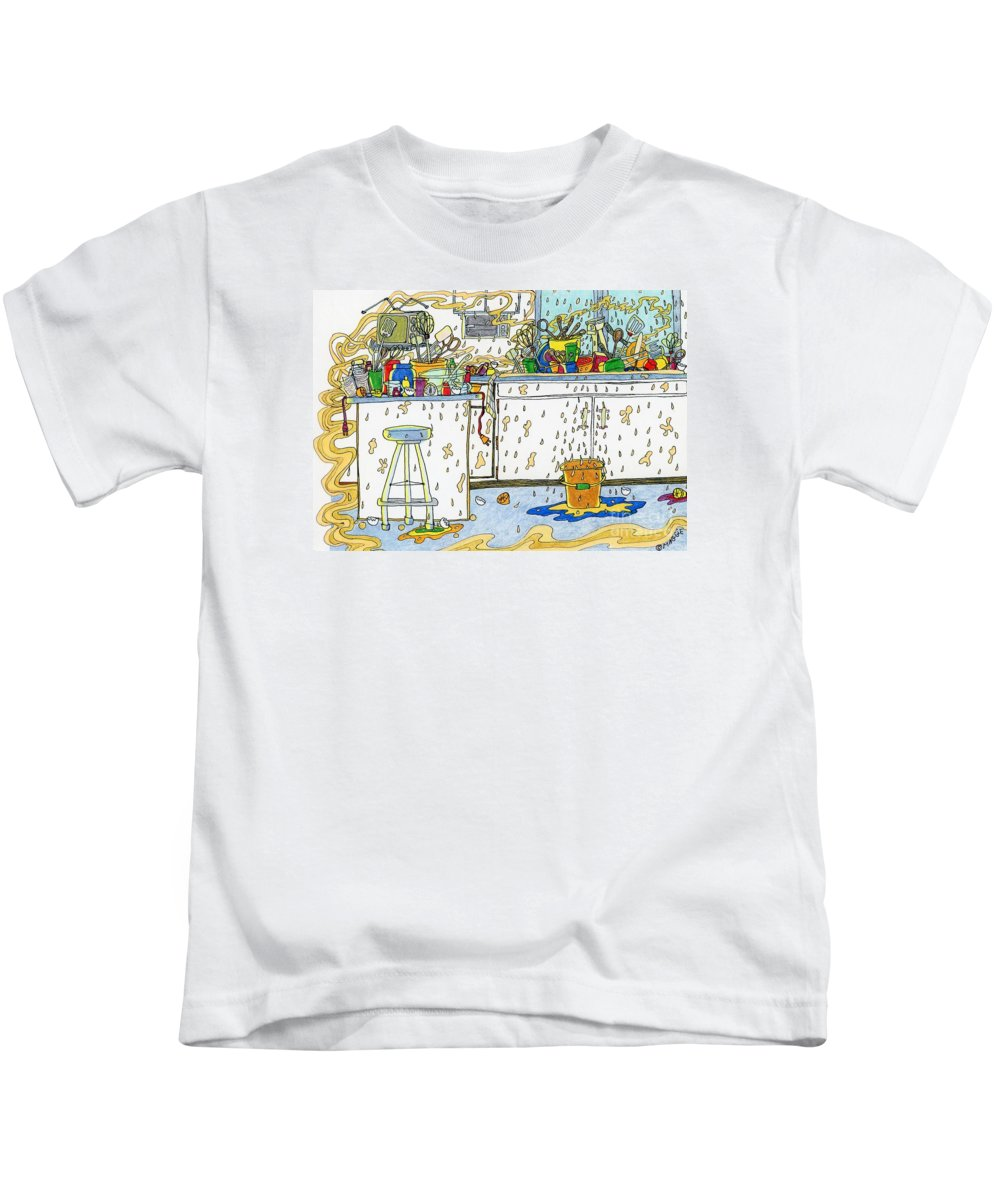 Kitchens Kids T-Shirt featuring the painting Kitchen Catastrophe by Maggie Pringle