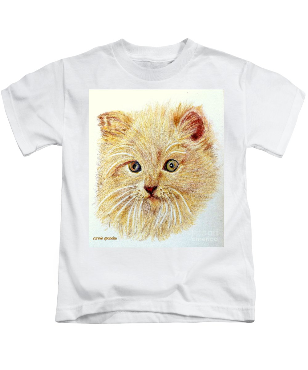 Iphones Kids T-Shirt featuring the painting Kitty Kat Iphone Cases Smart Phones Cells And Mobile Phone Cases Carole Spandau 301 by Carole Spandau