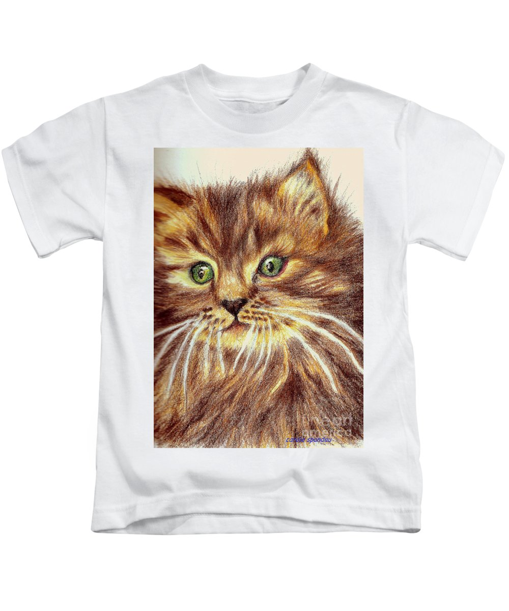 Iphones Kids T-Shirt featuring the painting Kitty Kat Iphone Cases Smart Phones Cells And Mobile Phone Cases Carole Spandau 317 by Carole Spandau