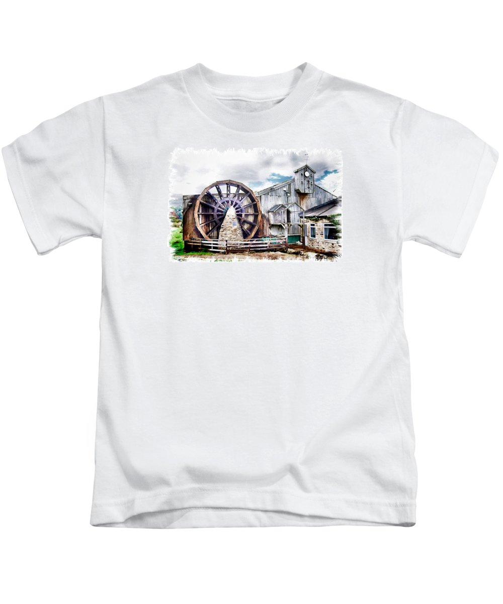 Old Kids T-Shirt featuring the digital art Knitsley Mill 1 by John Lynch