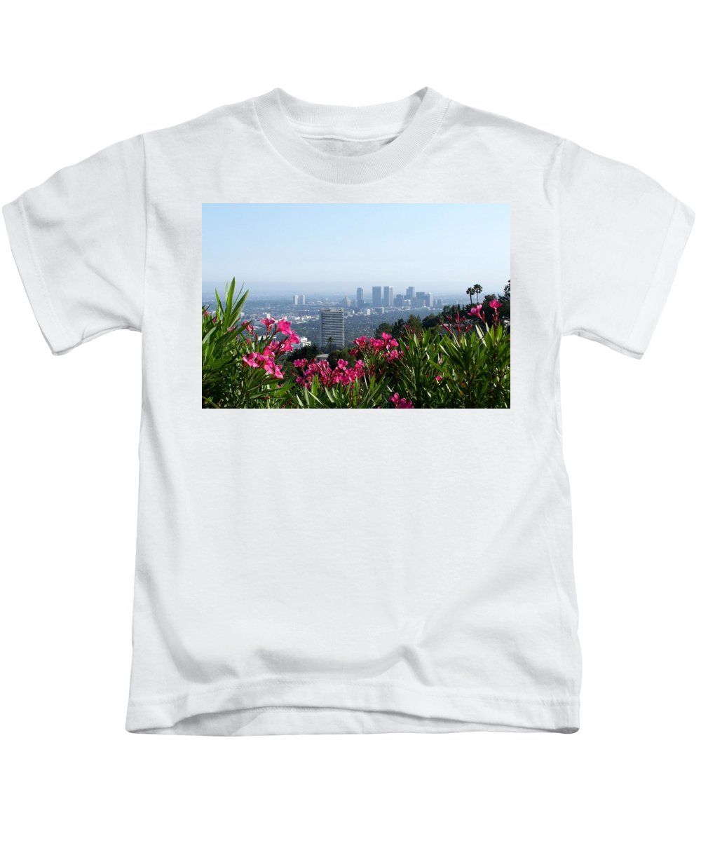 Los Angeles Kids T-Shirt featuring the photograph L.a. From Beverly Hills by Dany Lison
