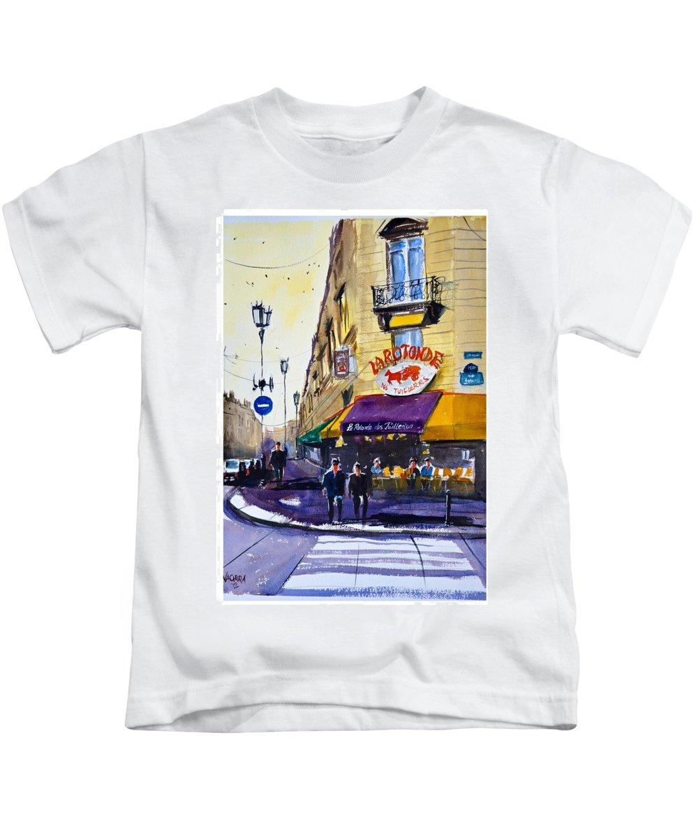 Paris Kids T-Shirt featuring the painting La Rotonde Des Tuileries by James Nyika
