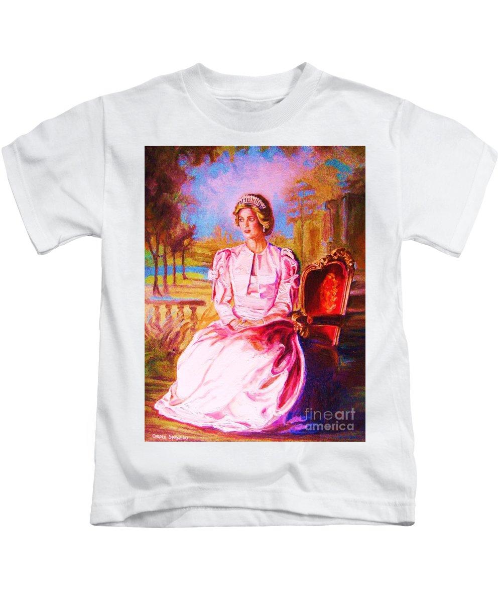 Princess Diana Kids T-Shirt featuring the painting Lady Diana Our Princess by Carole Spandau