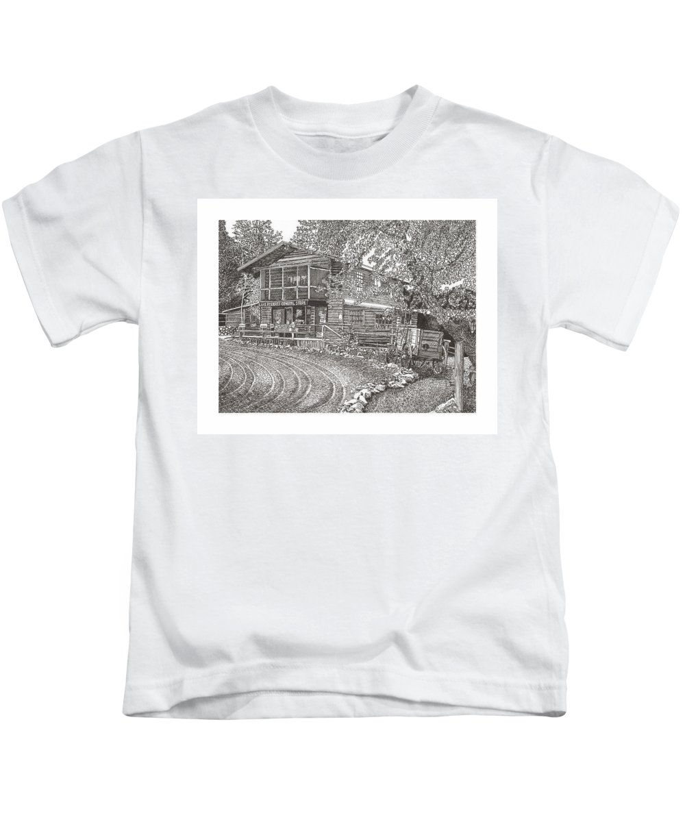 Archirtctural Rendering In Pen & Ink Kids T-Shirt featuring the drawing Lake Roberts N M Gen Store by Jack Pumphrey