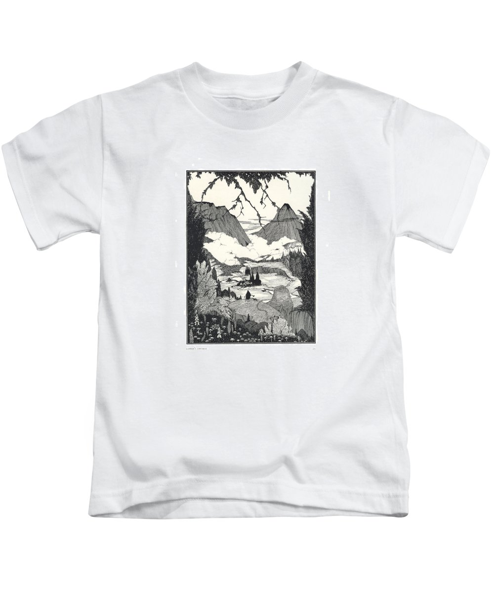 Edgar Kids T-Shirt featuring the drawing Landors Cottage by Harry Clarke