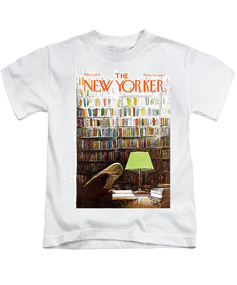 Library Kids T-Shirt featuring the painting New Yorker March 3, 1973 by Arthur Getz