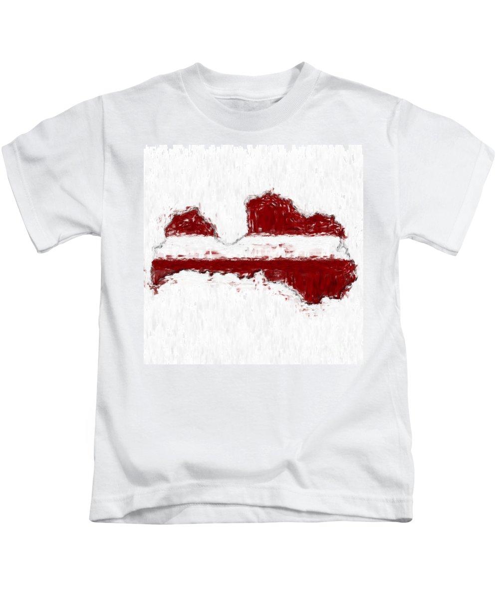 Latvia Kids T-Shirt featuring the photograph Latvia Painted Flag Map by Antony McAulay