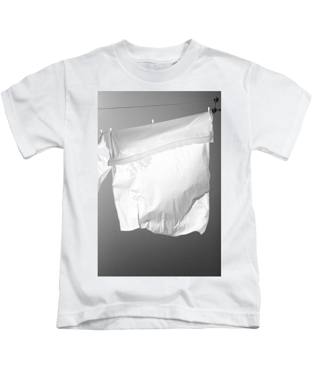 Black And White Kids T-Shirt featuring the photograph Laundry 5 by Allan Morrison