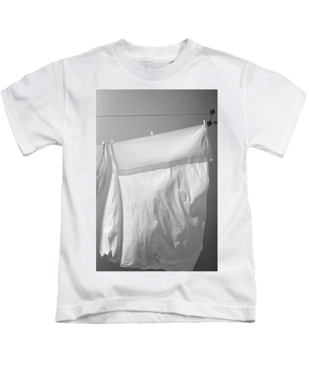 Line Drying Laundry Kids T-Shirt featuring the photograph Laundry 6 by Allan Morrison
