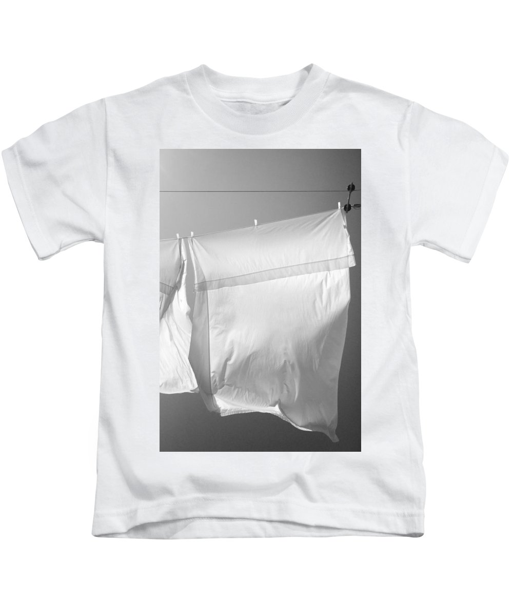 Line Drying Laundry Kids T-Shirt featuring the photograph Laundry 7 by Allan Morrison