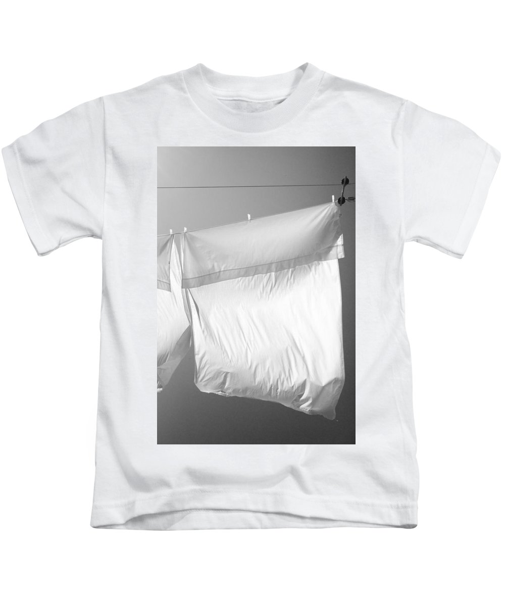 Line Drying Laundry Kids T-Shirt featuring the photograph Laundry 8 by Allan Morrison