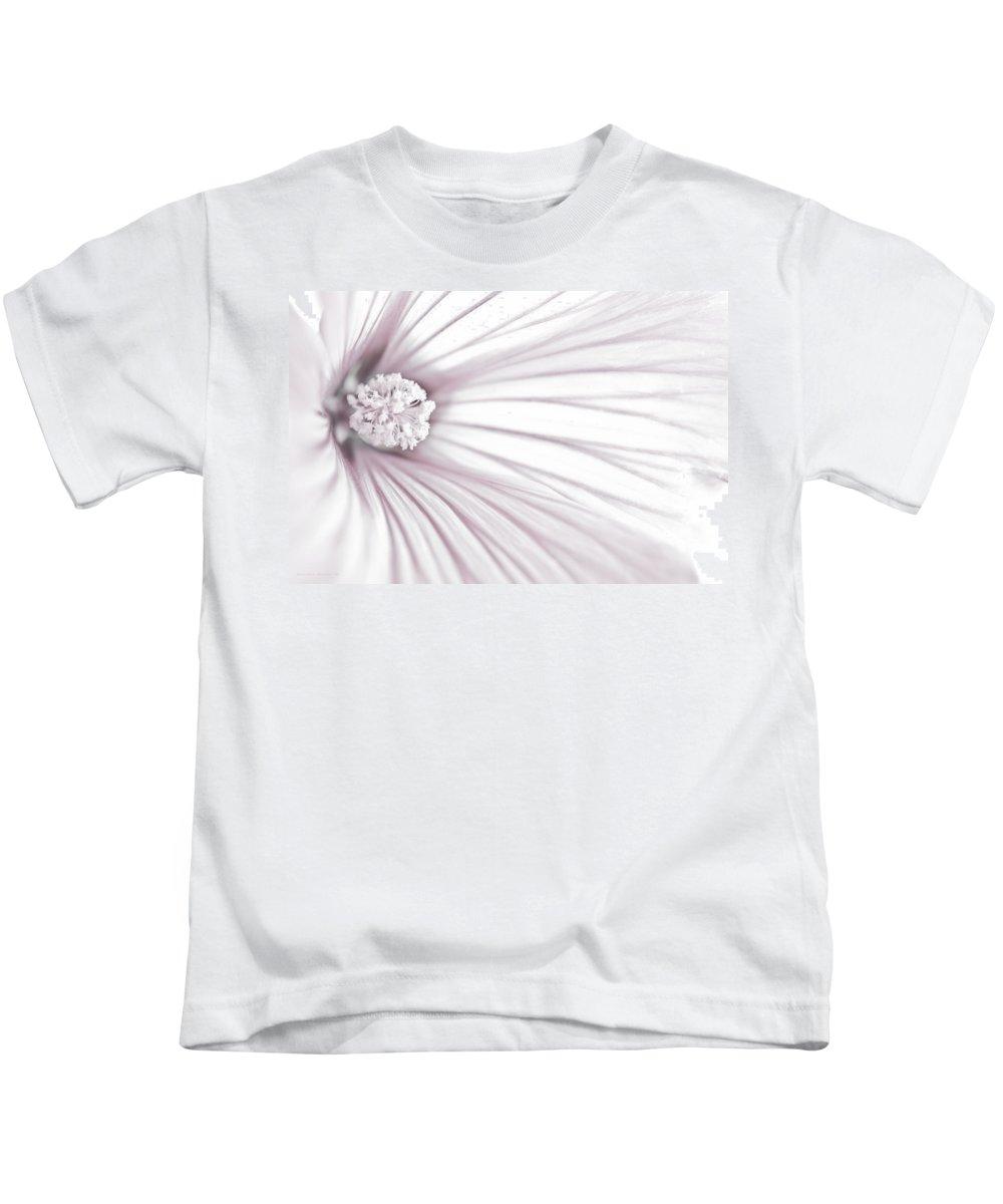 Soft Lavatera Flower Stamen Kids T-Shirt featuring the photograph Lavatera Flower Stamen Macro by Sandra Foster