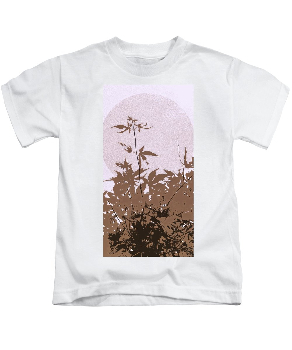 Leaves Kids T-Shirt featuring the photograph Lavender And Taupe Haiku by Kathy Barney