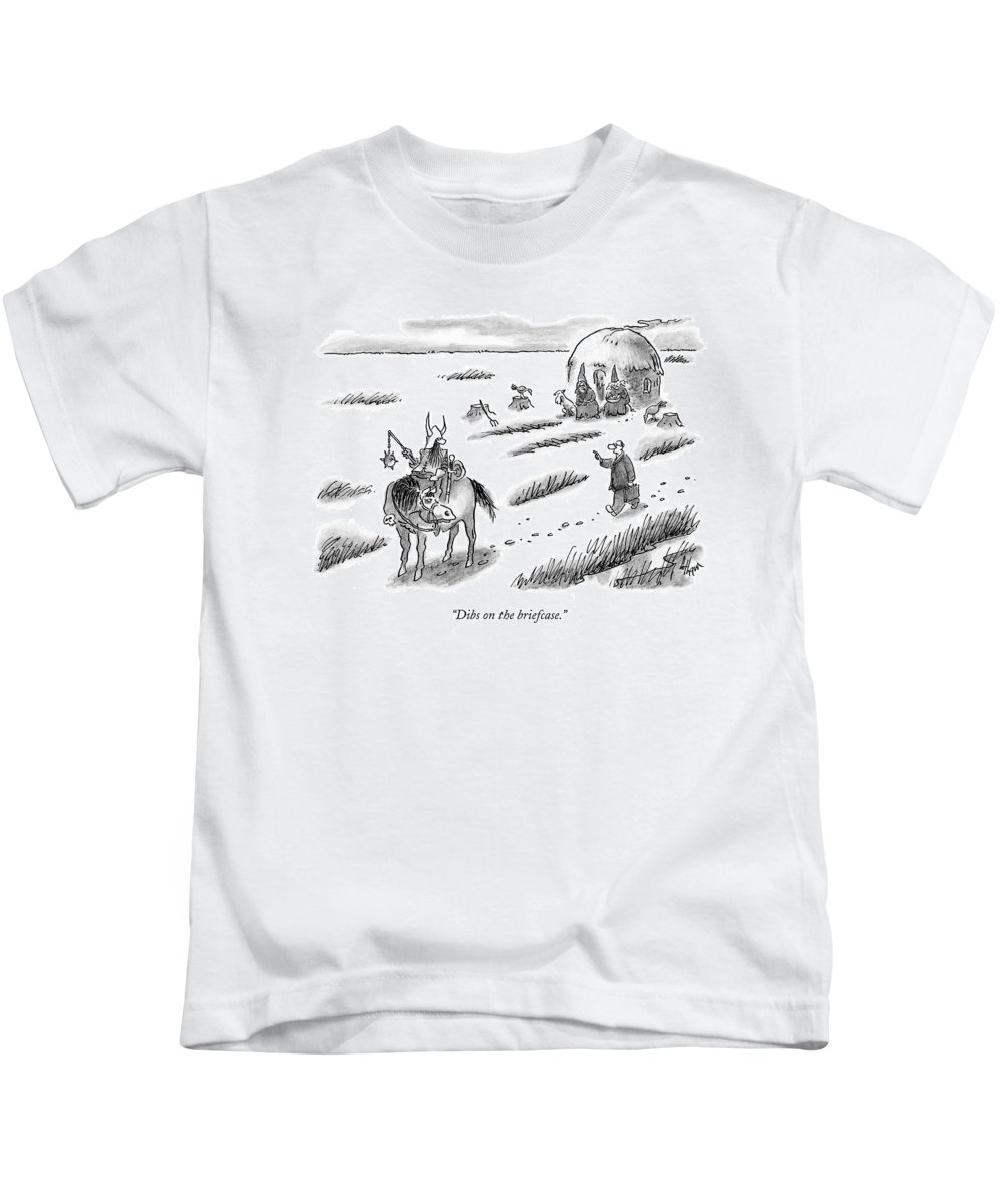 Lawyer Running Barbarian Criminal Chase Chasing Mace   Kids T-Shirt featuring the drawing Laywer Chasing After A Barbarian by Frank Cotham