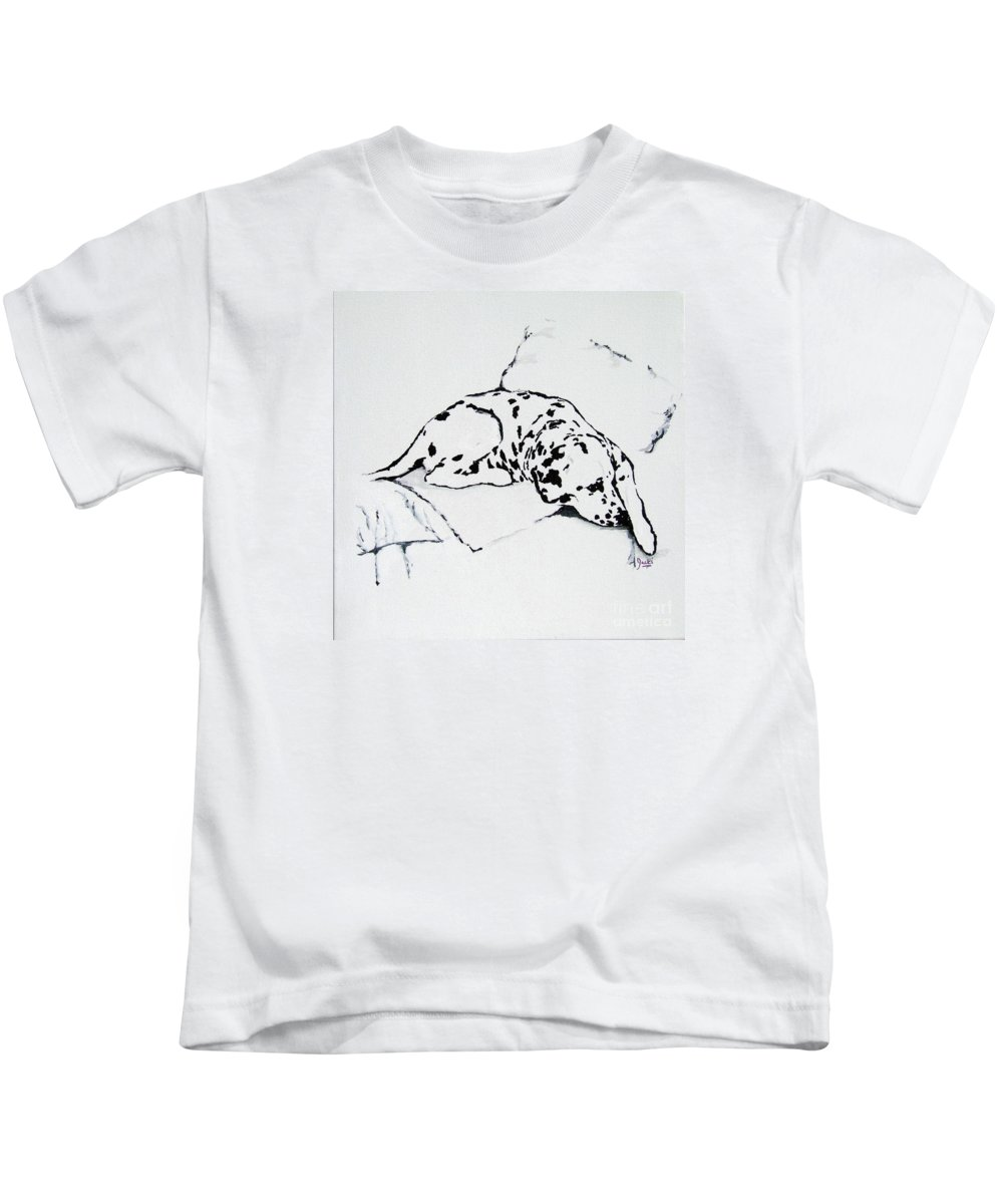 Dogs Kids T-Shirt featuring the painting Lazy Day by Jacki McGovern