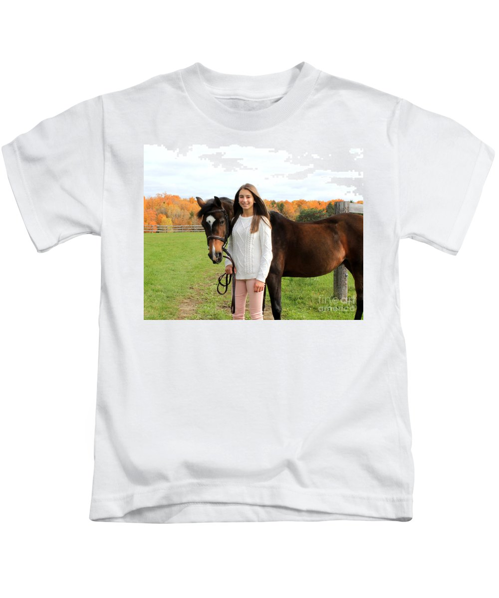 Kids T-Shirt featuring the photograph Leanna Abbey 10 by Life With Horses