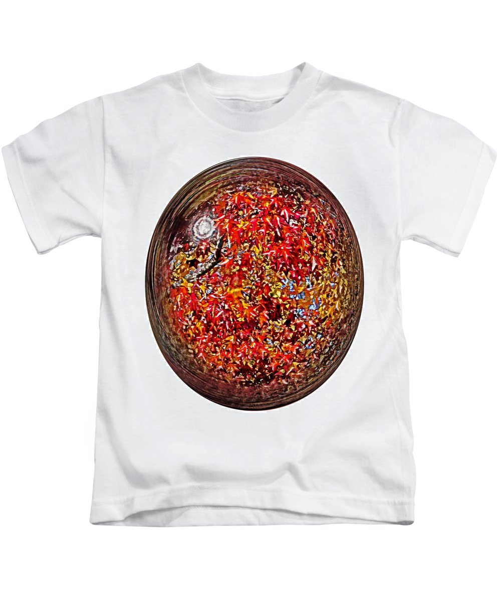 Fall Kids T-Shirt featuring the photograph Leaves In A Bubble by Tom Gari Gallery-Three-Photography