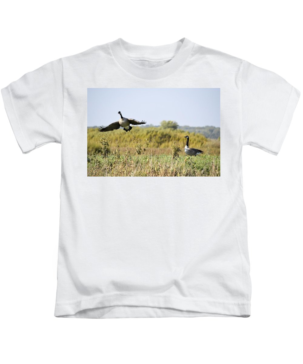 Goose Kids T-Shirt featuring the photograph Left Behind by Bonfire Photography