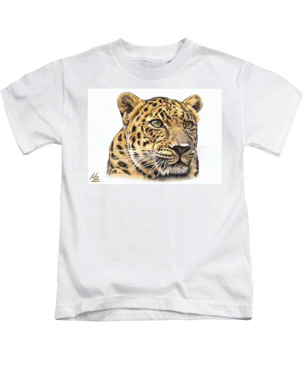 Leopard Kids T-Shirt featuring the drawing Leopard by Nicole Zeug