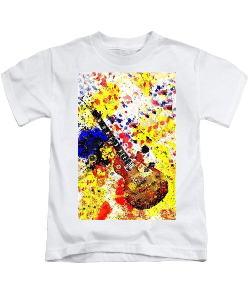 Pop Art Kids T-Shirt featuring the mixed media Les Paul Retro Abstract by Brian Raggatt