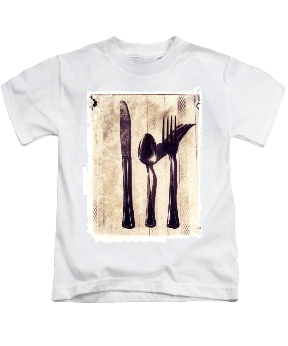Forks Kids T-Shirt featuring the photograph Lets Eat by Jane Linders