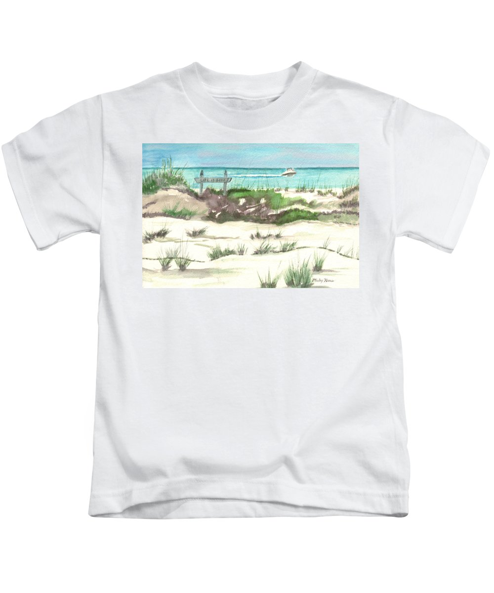 Beach Kids T-Shirt featuring the painting Life Is Good by Mickey Krause
