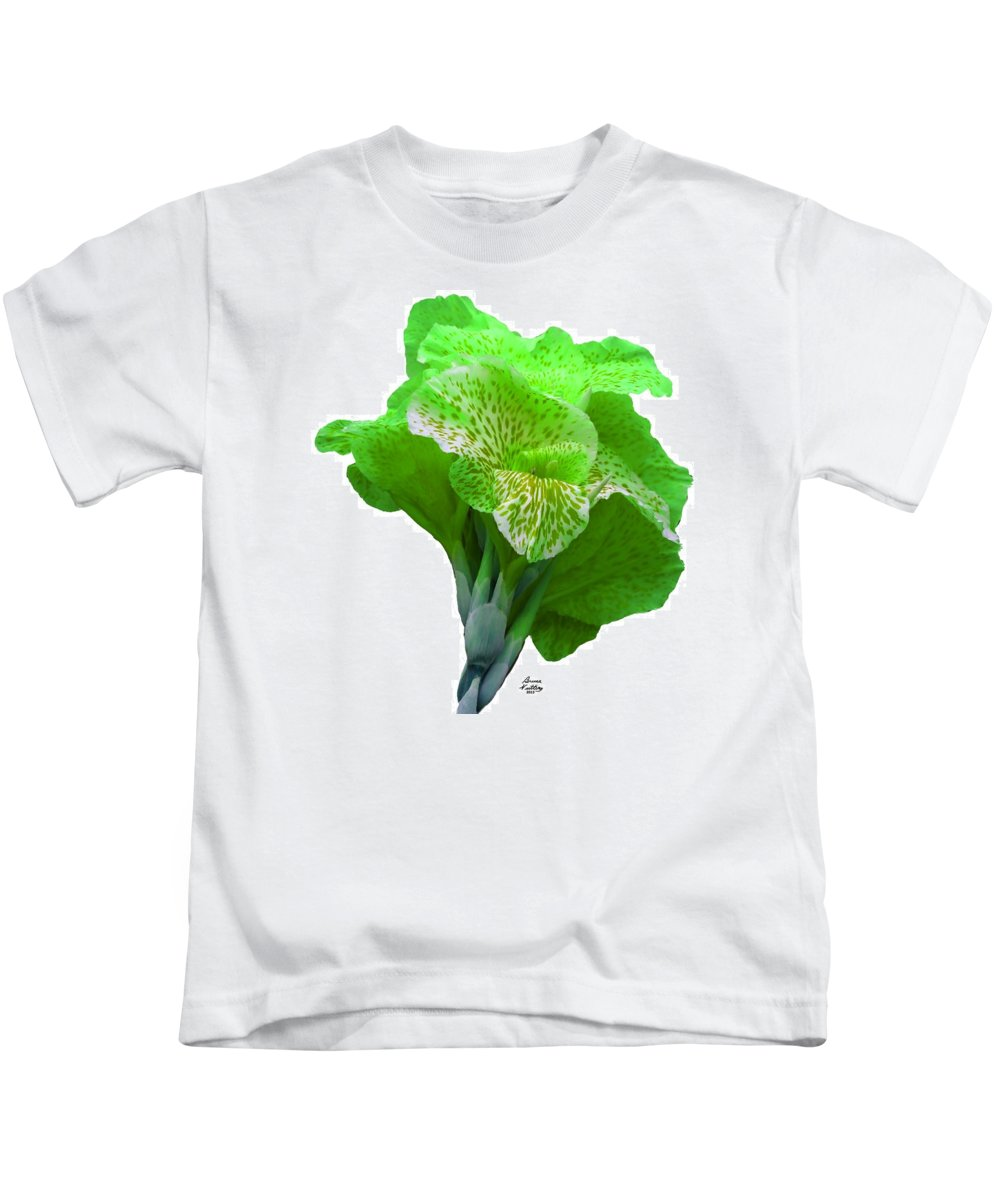 Iris Kids T-Shirt featuring the painting Light Green Iris by Bruce Nutting