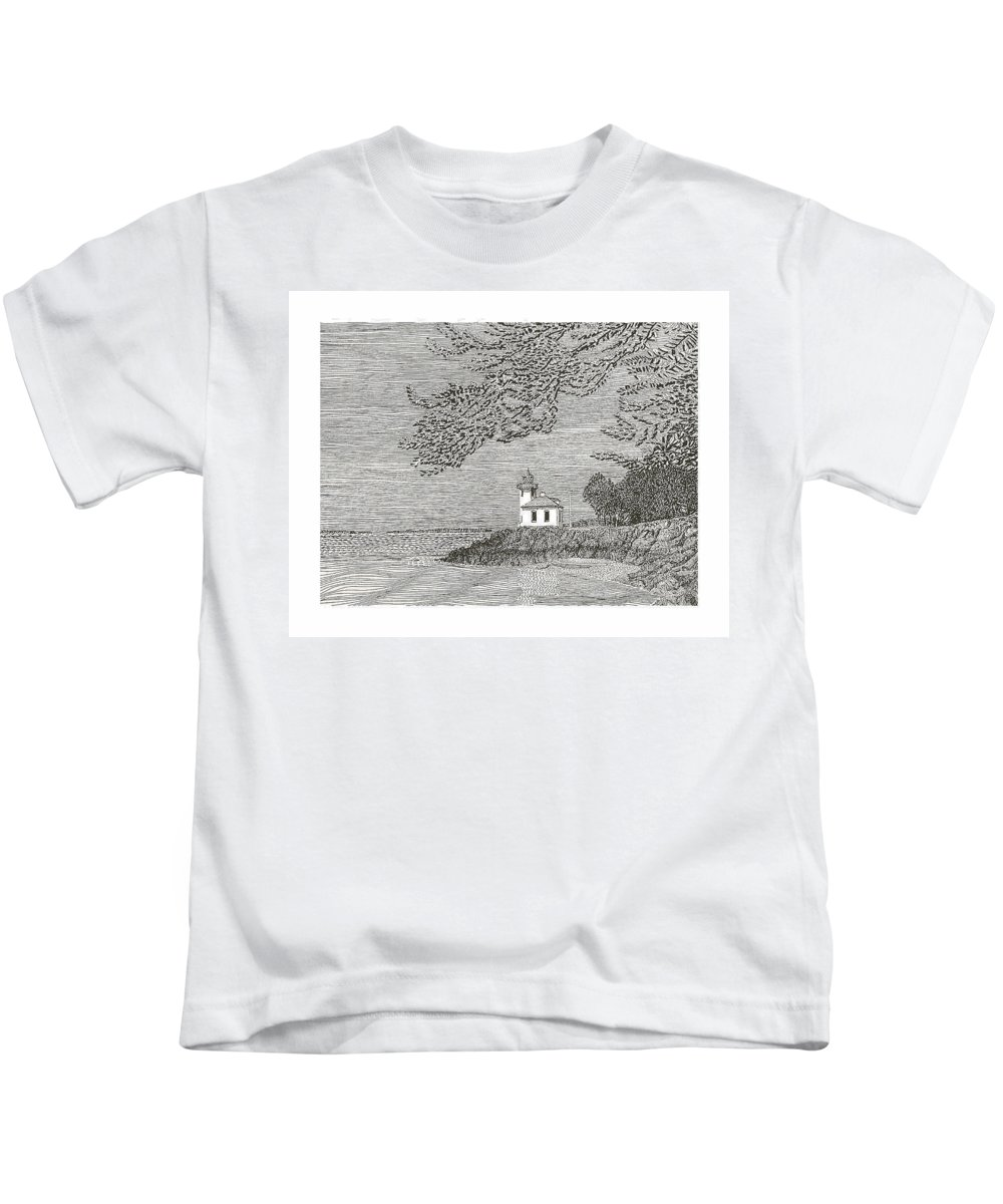San Juan Islands Lime Point Lighthouse Kids T-Shirt featuring the drawing Light House On San Juan Island Lime Point Lighthouse by Jack Pumphrey