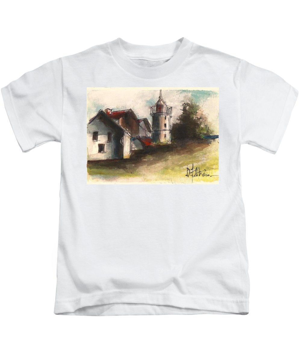Seascape Kids T-Shirt featuring the painting Lighthouse By Day by Diane Strain