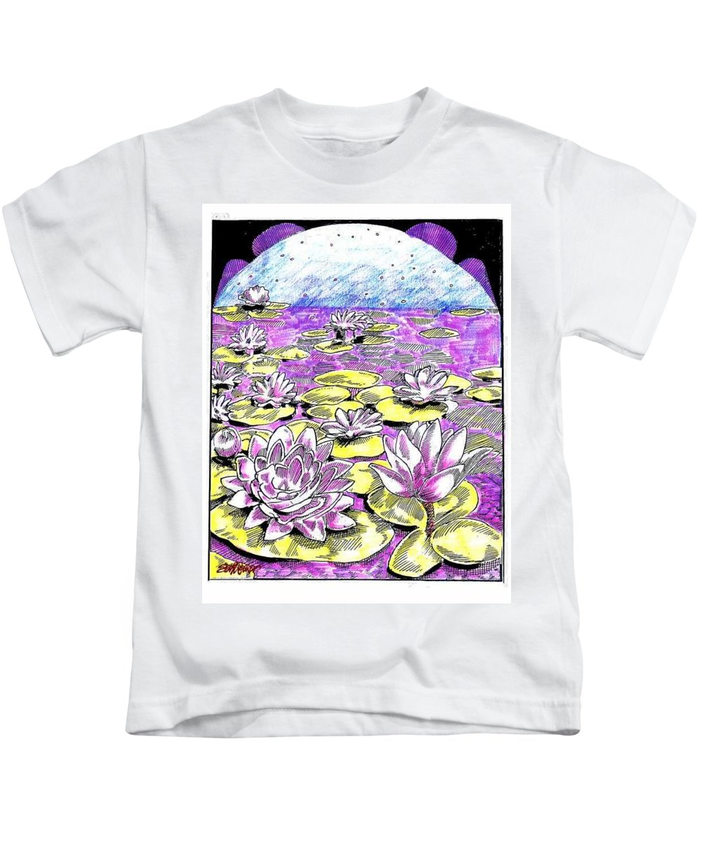 Lilies Of The Lake Kids T-Shirt featuring the drawing Lilies of the Lake by Seth Weaver