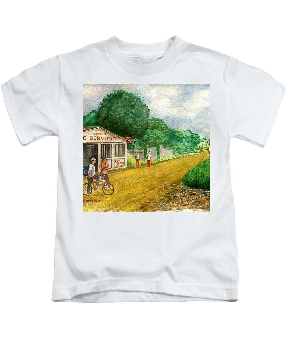 Limon Costa Rica Dirt Road Auto Servicio Kids Bike Kids T-Shirt featuring the painting Limon Costa Rica by Frank Hunter