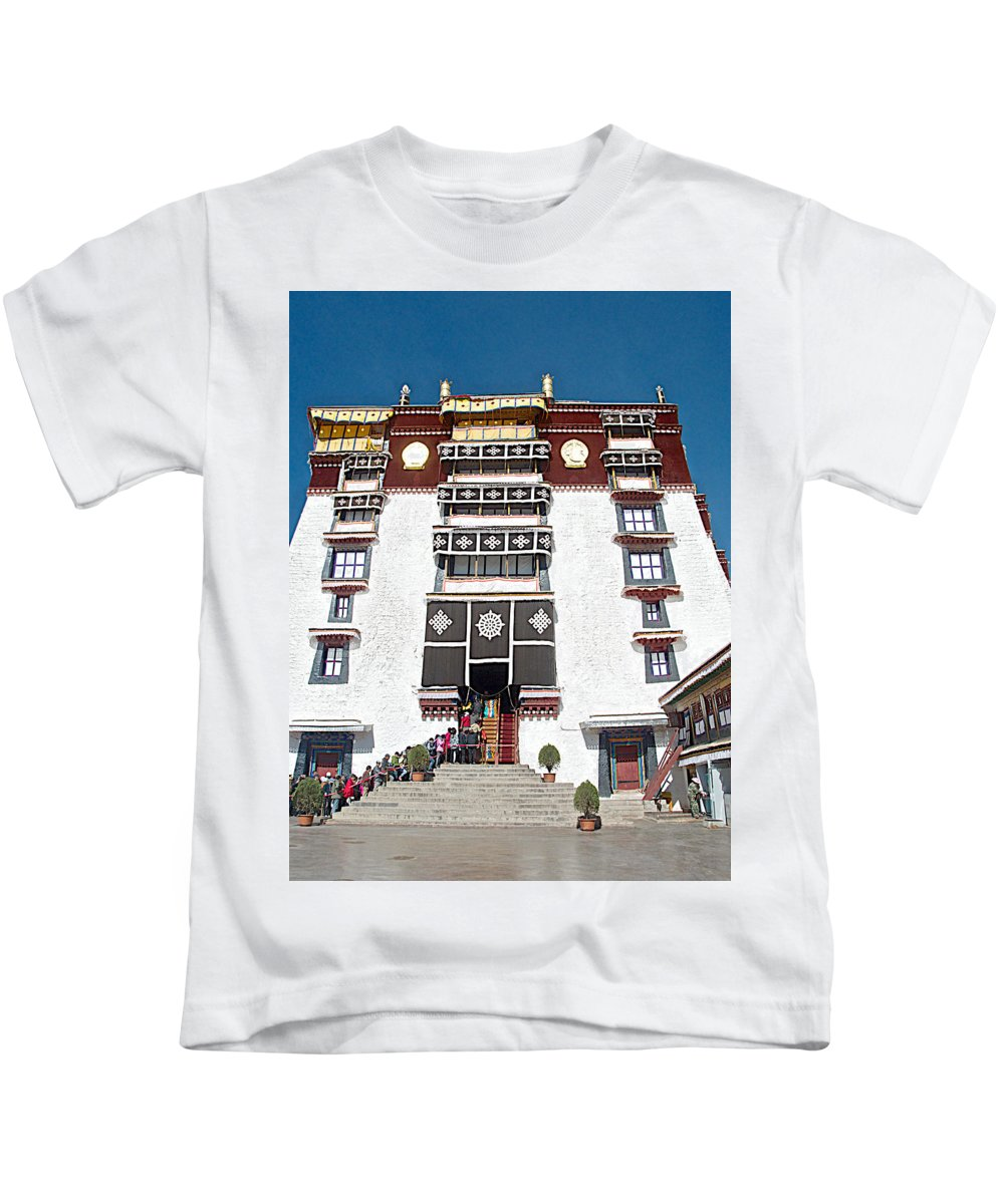 Line Of Pilgrims And Tourists Entering Former Living Quarters Of Dalai Lama In Potala Palace In Lhasa Kids T-Shirt featuring the photograph Line Of Pilgrims And Tourists Entering Former Living Quarters Of Dalai Lama In Potala Palace-tibet by Ruth Hager