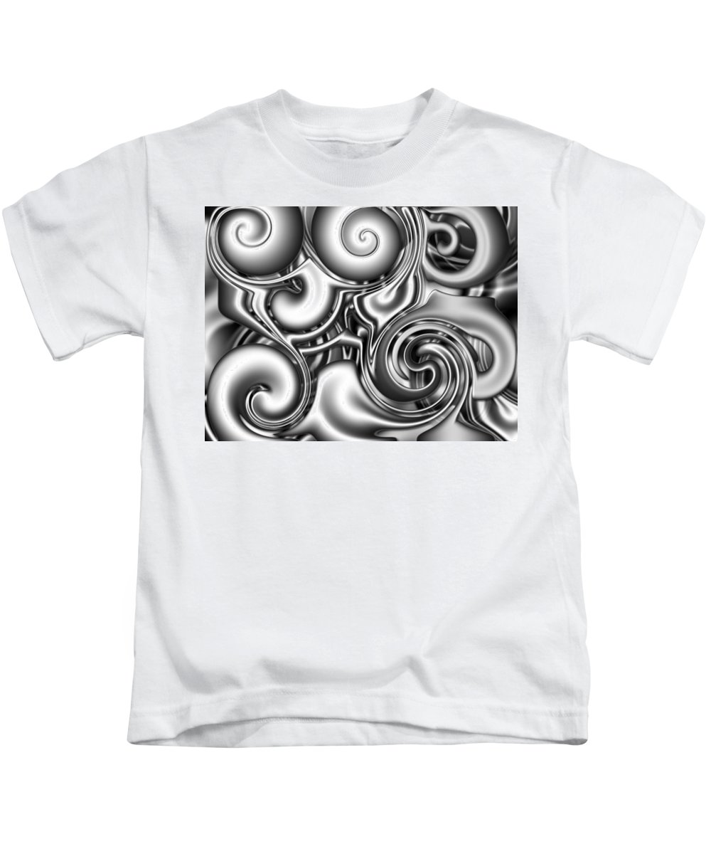 Abstract Kids T-Shirt featuring the digital art Liquid Metal by Ron Hedges