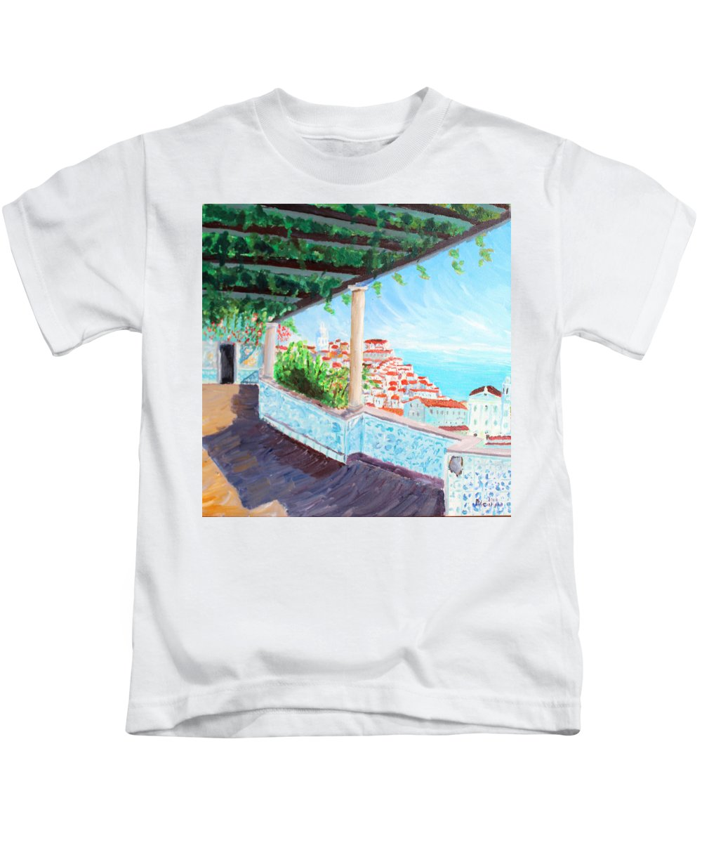 Lisboa Kids T-Shirt featuring the painting Lisbon Alfama With Atlantic Ocean by M Bleichner