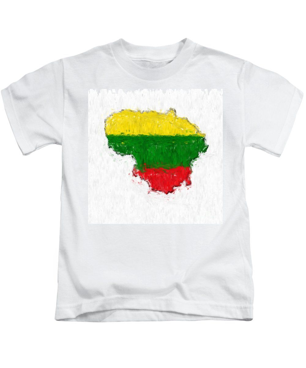 Lithuania Kids T-Shirt featuring the photograph Lithuania Painted Flag Map by Antony McAulay