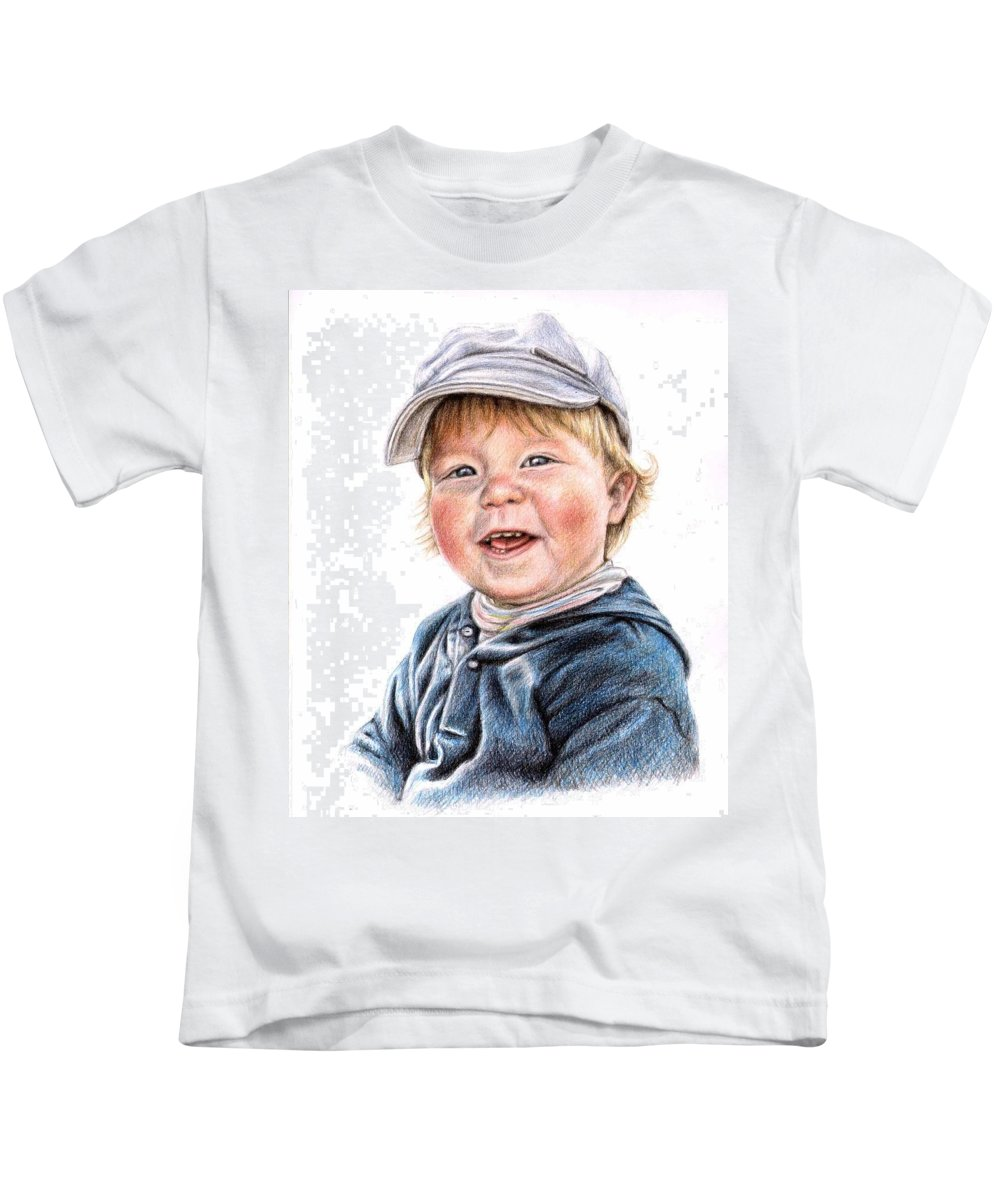 Boy Kids T-Shirt featuring the drawing Little Boy by Nicole Zeug