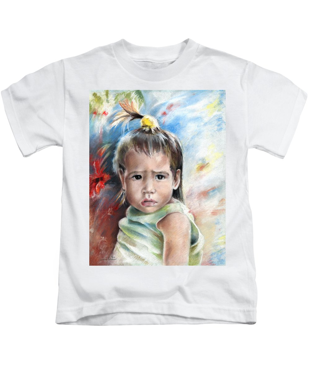 Travel Kids T-Shirt featuring the painting Little Girl From Tahiti by Miki De Goodaboom