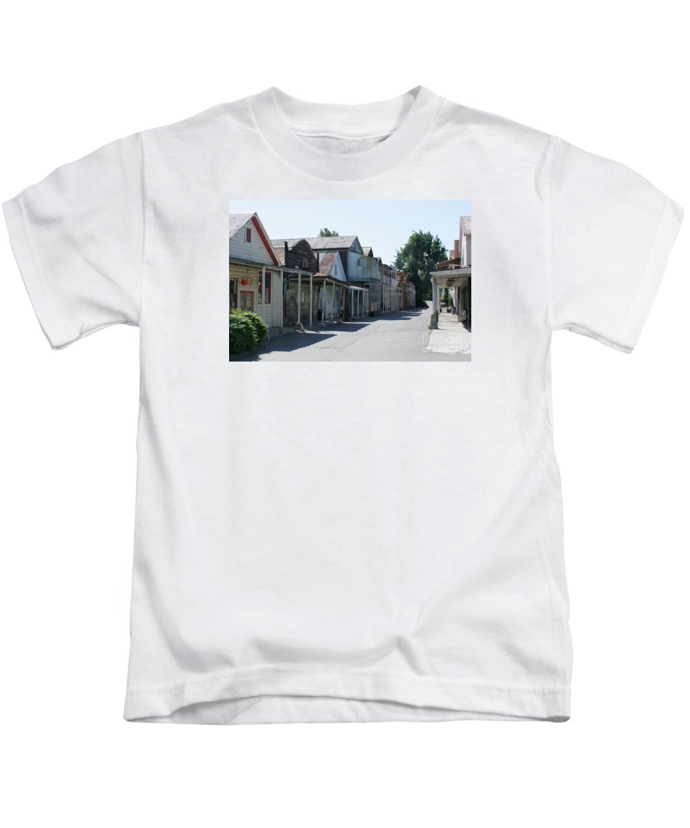 Landscapes Kids T-Shirt featuring the photograph Locke Chinatown Series - Main Street - 1 by Mary Deal