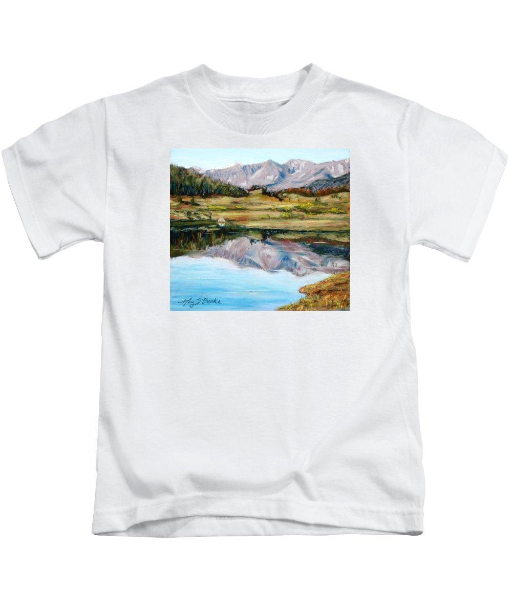 Long Draw Reservoir Kids T-Shirt featuring the painting Long Draw Reservoir by Mary Benke