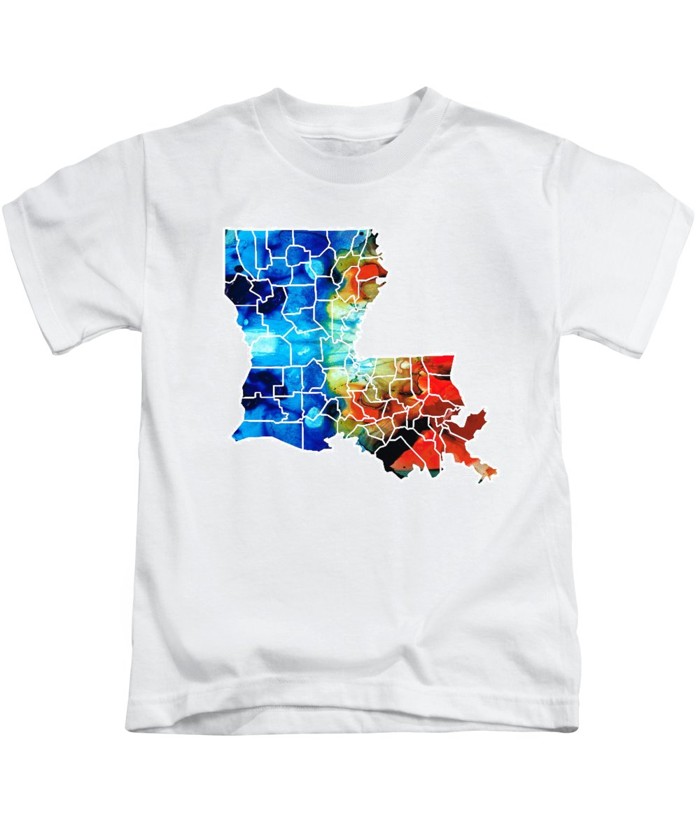 Louisiana Kids T-Shirt featuring the painting Louisiana Map - State Maps By Sharon Cummings by Sharon Cummings