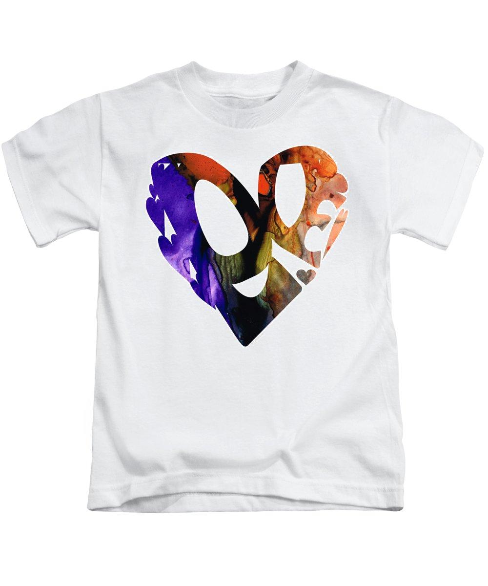 Sharon Cummings Kids T-Shirt featuring the painting Love 1 - Heart Hearts Romantic Art by Sharon Cummings