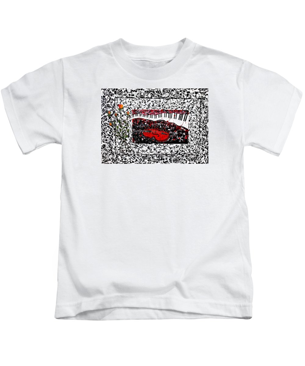 Abstract Piano Kids T-Shirt featuring the painting Love Music Memories Original Acrylic Painting by Georgeta Blanaru
