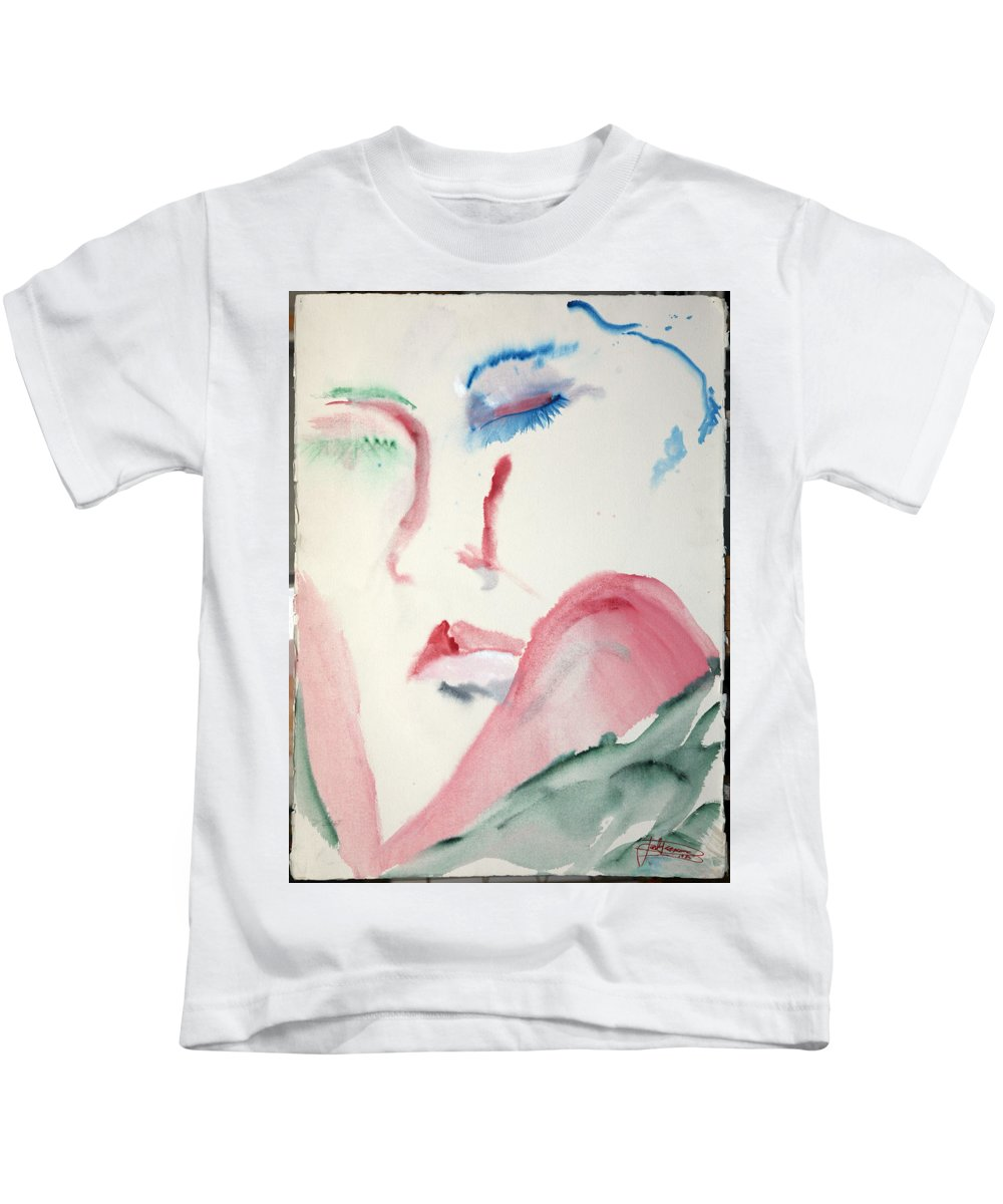 Red Kids T-Shirt featuring the painting Love Rest by Jack Diamond