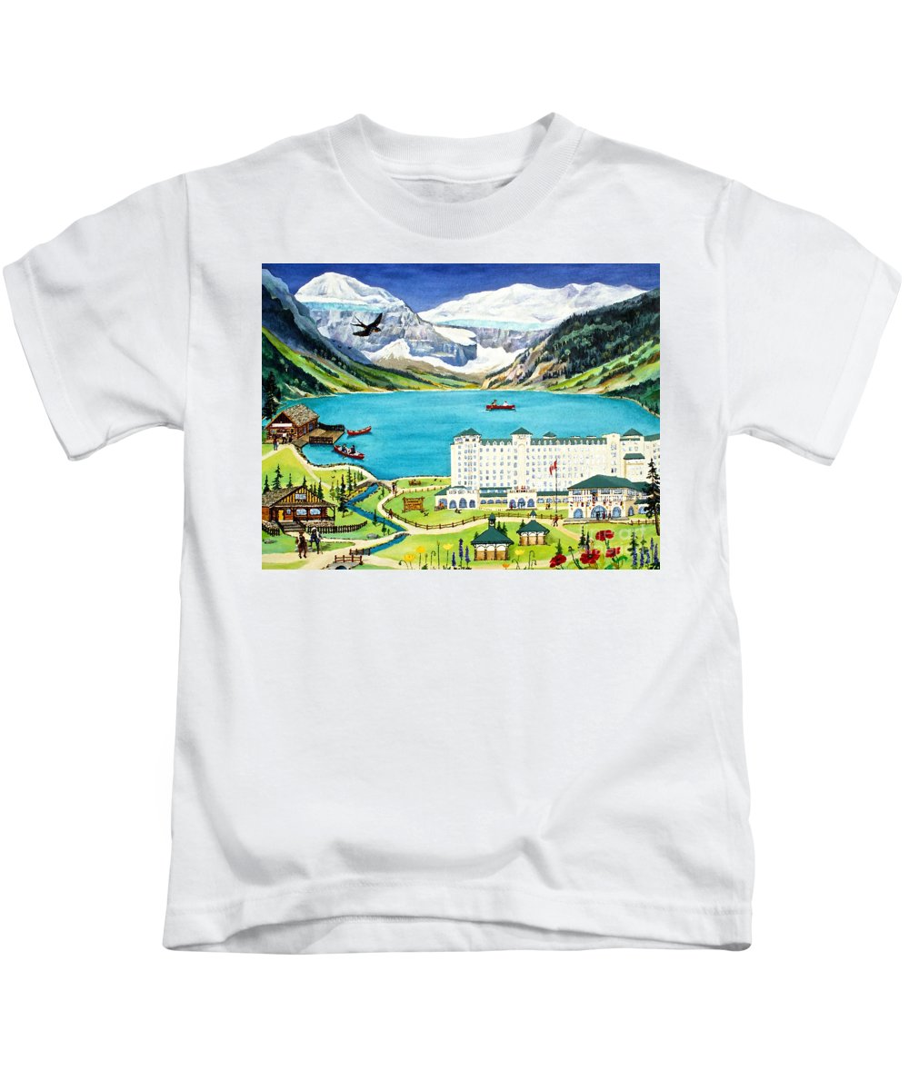 Lake Louise Kids T-Shirt featuring the painting Lovely Lake Louise by Virginia Ann Hemingson