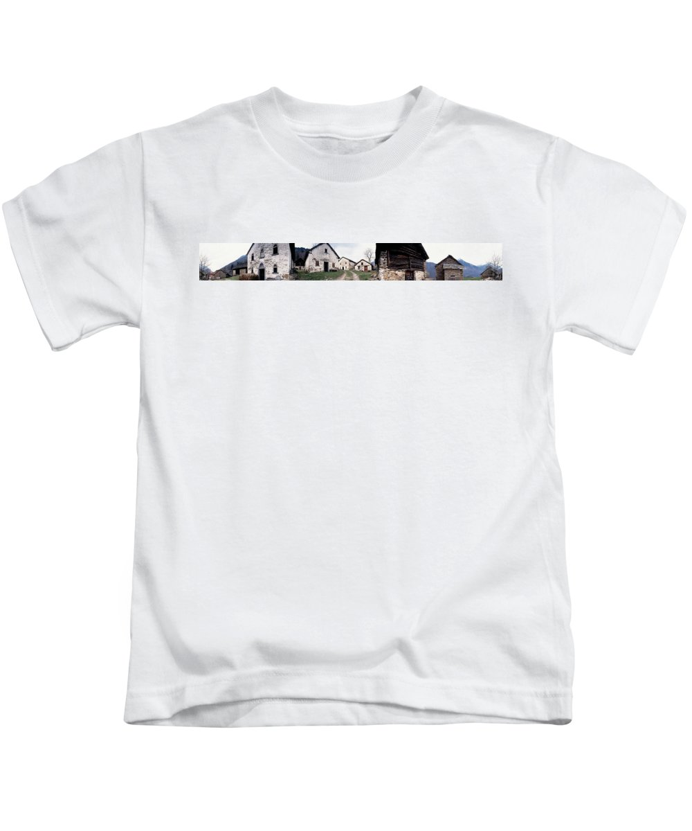 Photography Kids T-Shirt featuring the photograph Low Angle View Of Houses In A Village by Panoramic Images