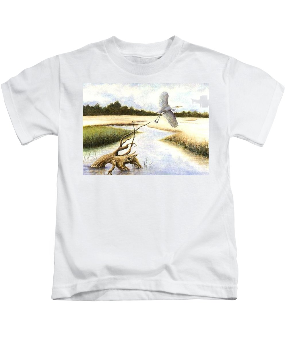Egret Kids T-Shirt featuring the painting Low Country Marsh by Ben Kiger