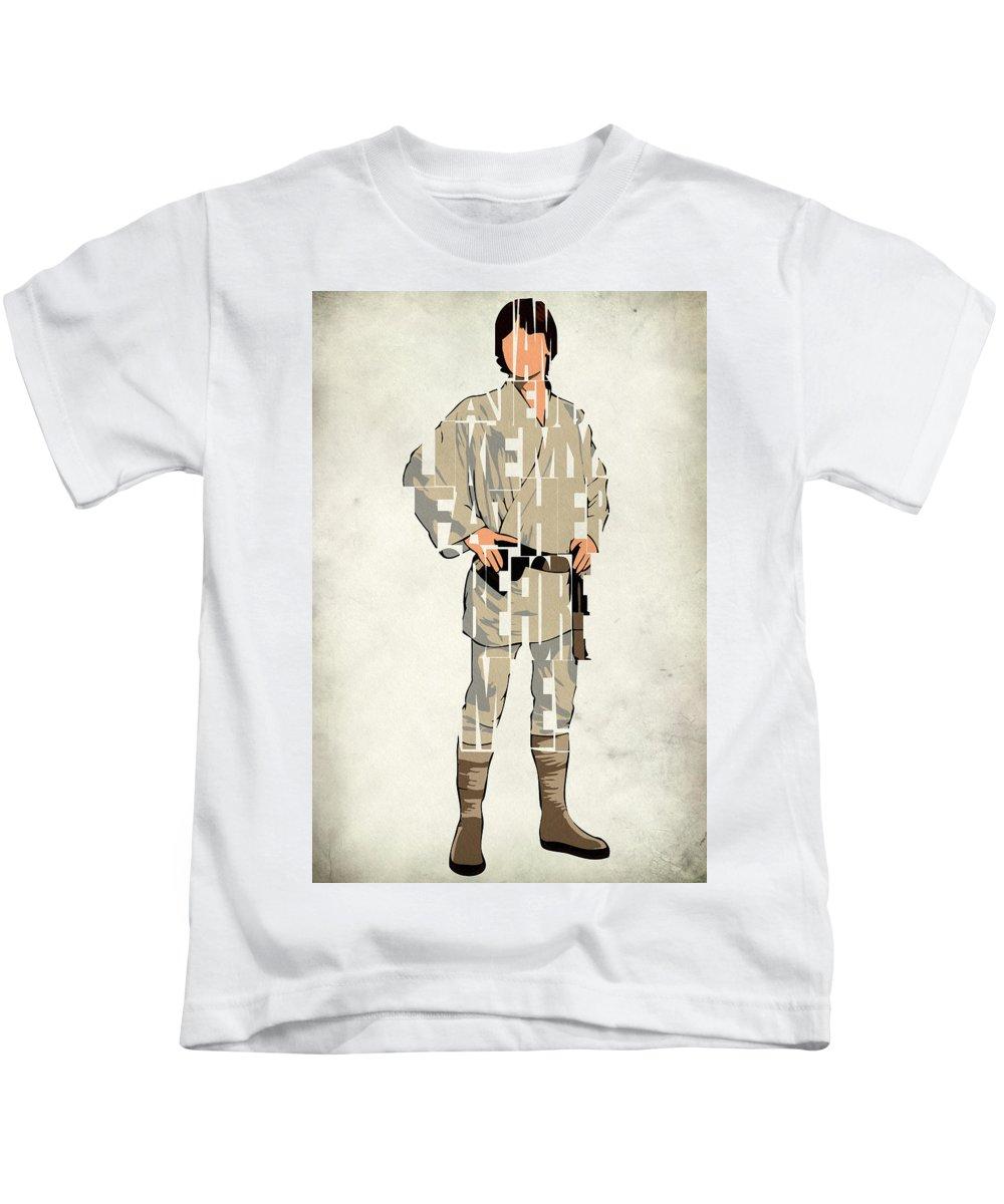 Luke Skywalker Kids T-Shirt featuring the digital art Luke Skywalker - Mark Hamill by Inspirowl Design