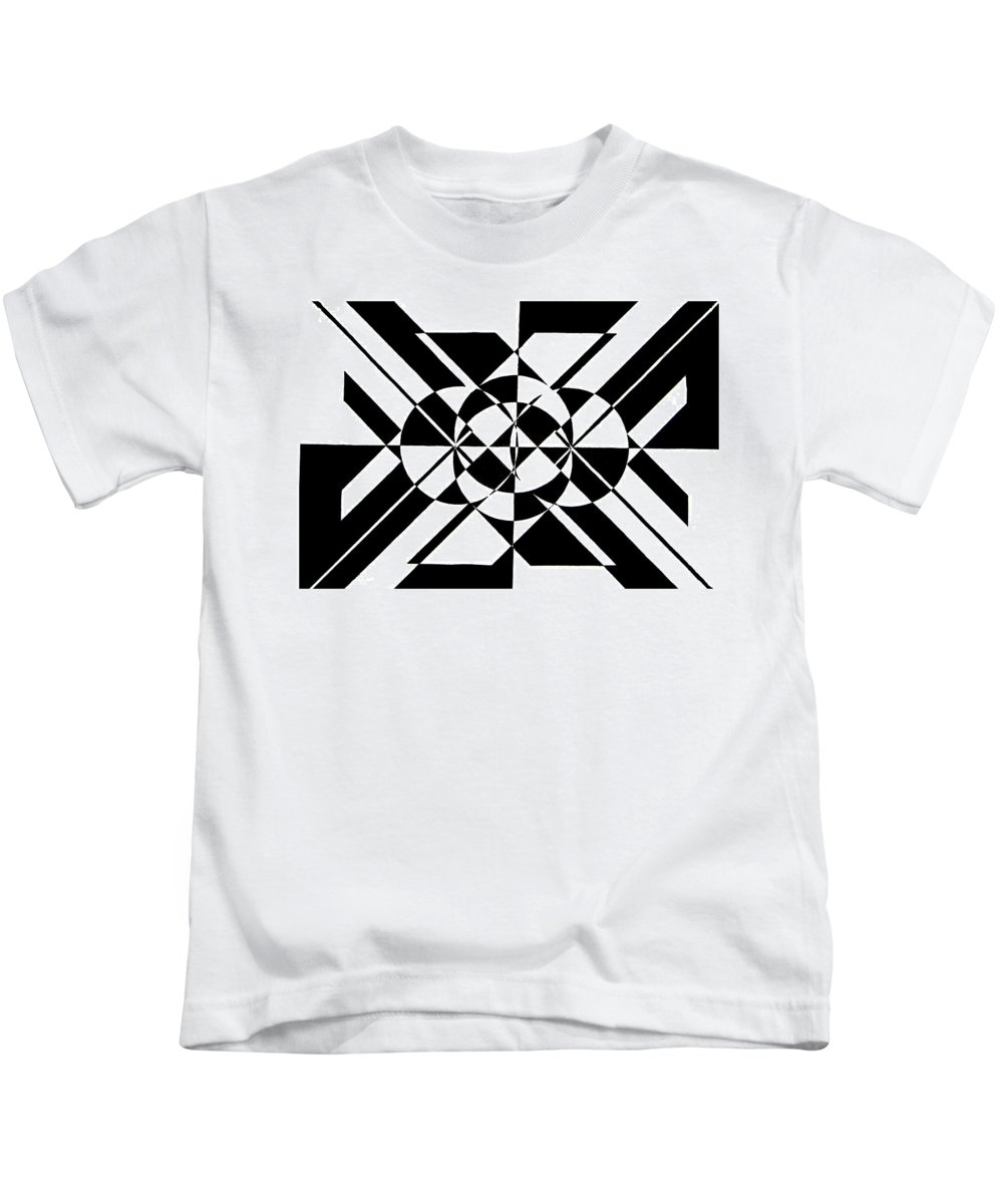 Abstract Kids T-Shirt featuring the painting Lunar City by Crystal Hubbard