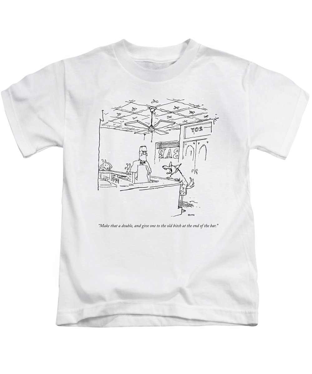 Bitch Kids T-Shirt featuring the drawing Make That A Double by George Booth